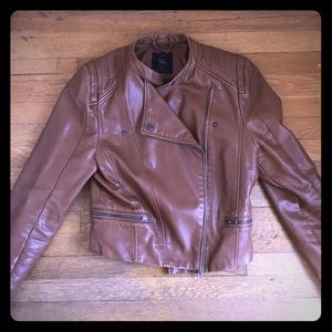 Brown faux leather motto jacket